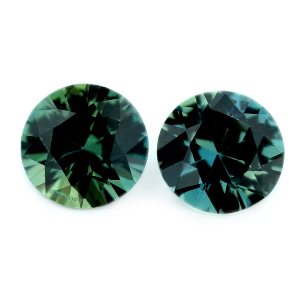 0.82 ct Certified Natural Teal Sapphire Pair
