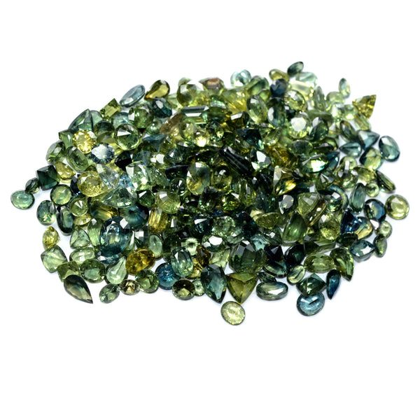 200ct Certified Natural Green Sapphire Parcel