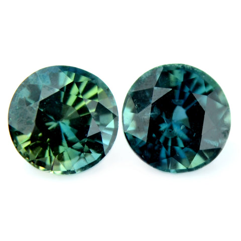 1.04 ct Certified Natural Teal Sapphire Pair