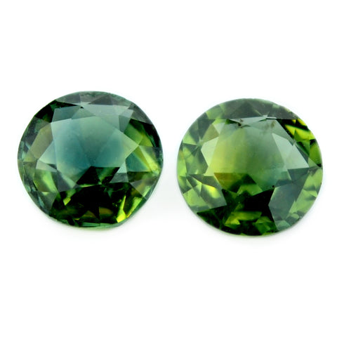 0.92 ct Certified Natural Green Sapphire Pair