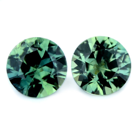 1.17 ct Certified Natural Green Sapphire Pair
