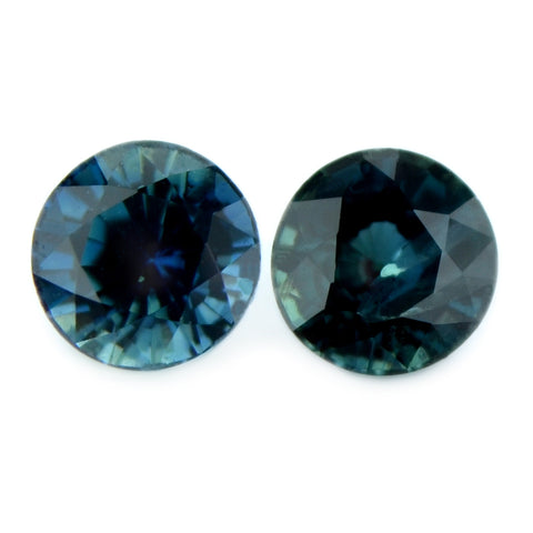 0.88 ct Certified Natural Teal Sapphire Pair