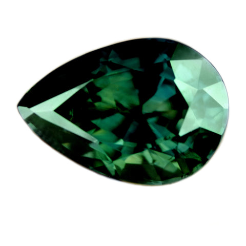 "Certified Natural ""4.37ct"" Bluish Green Sapphire, Pear Cut - IF Clarity - sapphirebazaar - 1"