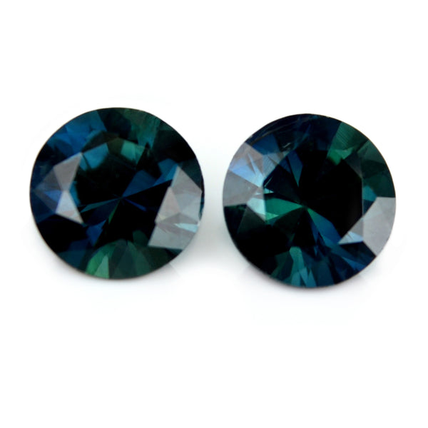 1.19ct Certified Natural Teal Sapphire Pair