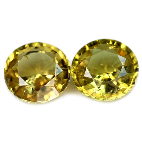 0.85ct Certified Natural Champagne Sapphire Matching Pair