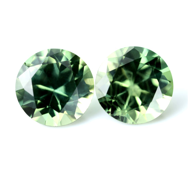 0.83ct Certified Natural Green Sapphire Pair