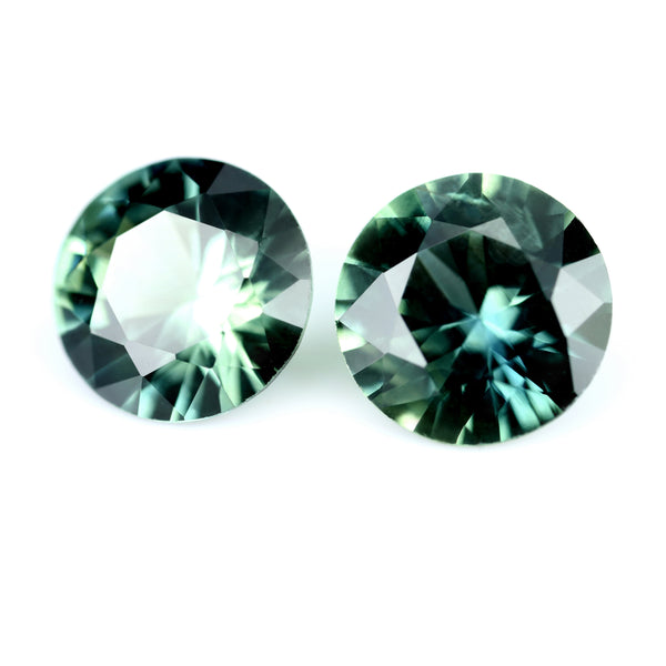 0.91ct Certified Natural Teal Sapphire Pair