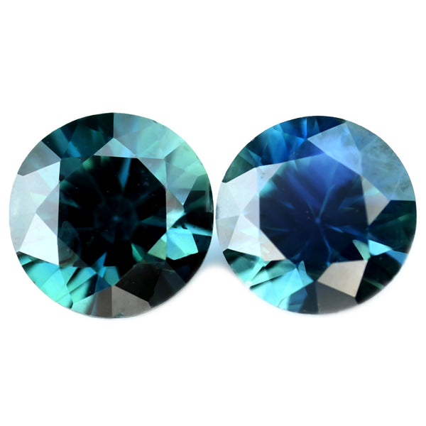 0.85ct Certified Natural Teal Sapphire Matching Pair