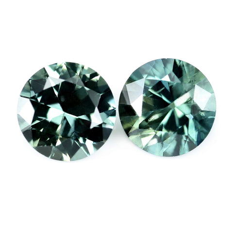 0.66ct Certified Natural Teal Sappphire Pair