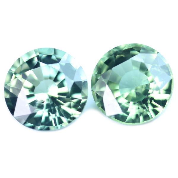 0.94ct Certified Natural Green Sapphire Pair