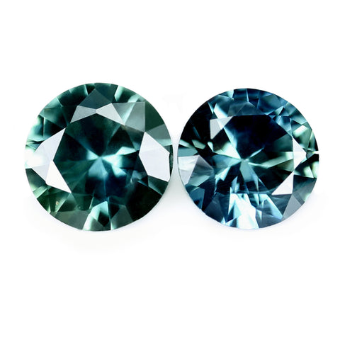 0.52ct Certified Natural Teal Sapphire Pair