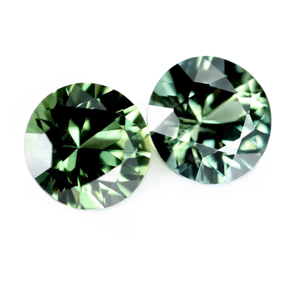 0.69ct Certified Natural Green Sapphire Pair