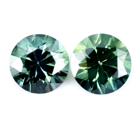 0.73ct Certified Natural Green Sapphire Pair