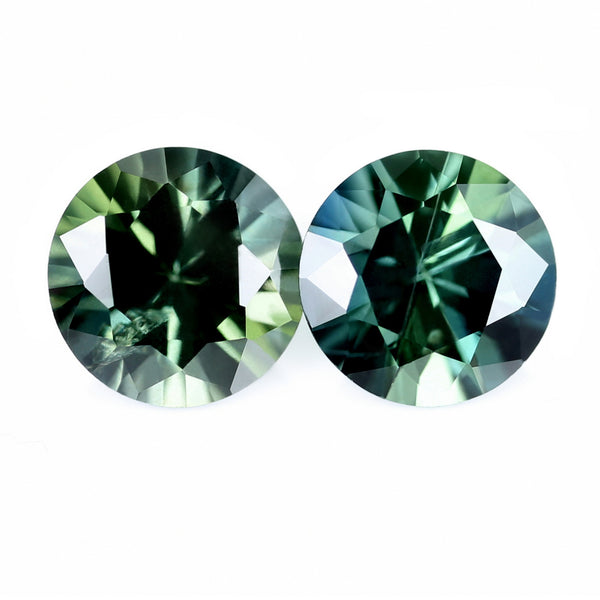 0.97ct Certified Natural Green Sapphire Pair