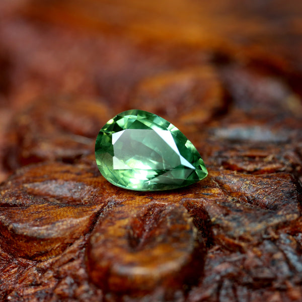 0.78ct Certified Natural Green Sapphire