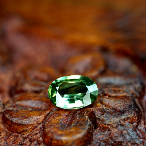 0.77ct Certified Natural Green Sapphire