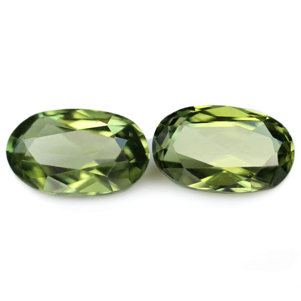 0.67ct Certified Natural Green Sapphire Matching Pair