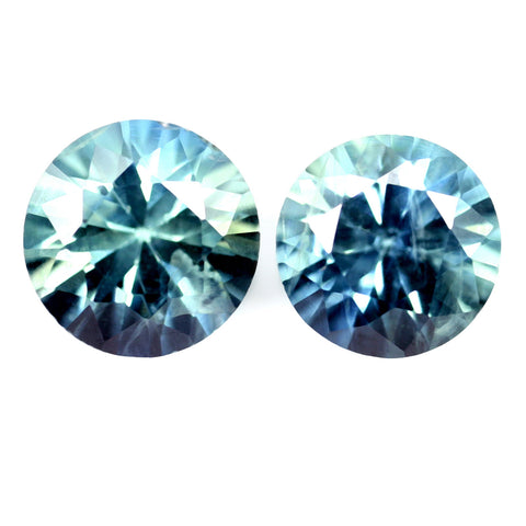 0.84ct Certified Natural Teal Sapphire Pair