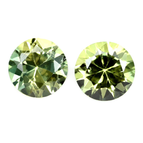 0.50ct Certified Natural Green Sapphire Matching Pair