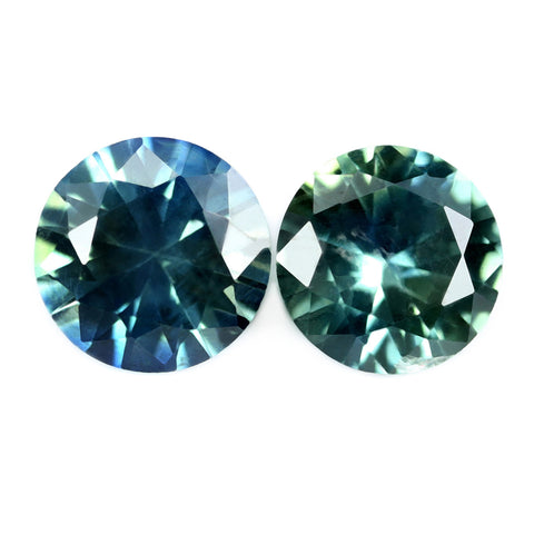0.70ct Certified Natural Teal Sapphire Matching Pair