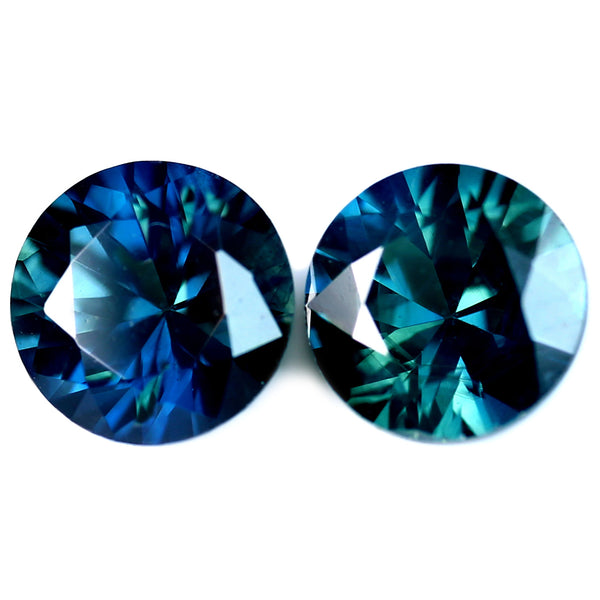 0.75ct Certified Natural Teal Sapphire Matching Pair