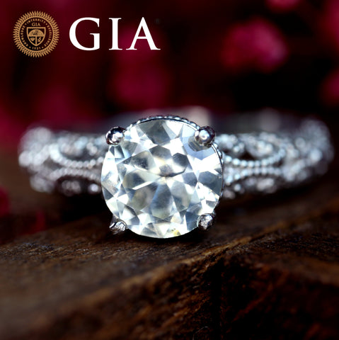 Certified 1.39 TCW Natural White Sapphire Ring