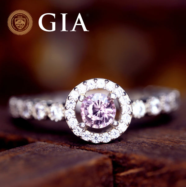 Certified 0.51 TCW Natural Pink Sapphire Ring