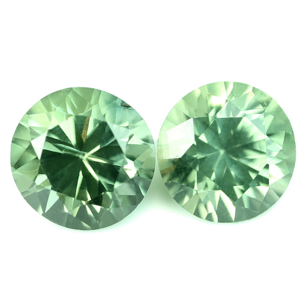 1.12ct Certified Natural Green Sapphire Matching Pair