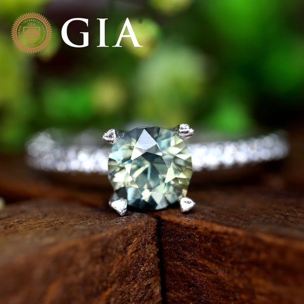 Certified 1.17 TCW Natural Green Sapphire Ring