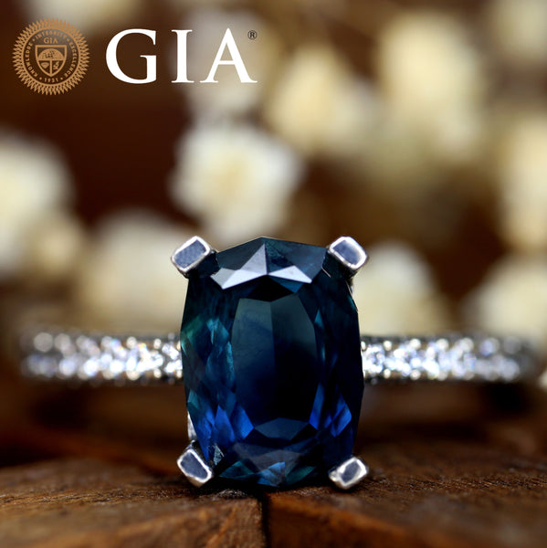 Certified 2.21 TCW Natural Teal Sapphire Ring