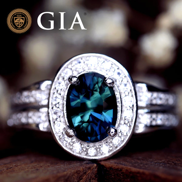 Certified 2.15 TCW Natural Teal Sapphire Ring