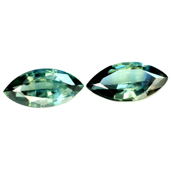 1.27cts Certified Natural Teal Sapphire Matching Pair