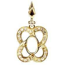 18K Yellow Gold Semi-mount Pendant with Enhancer