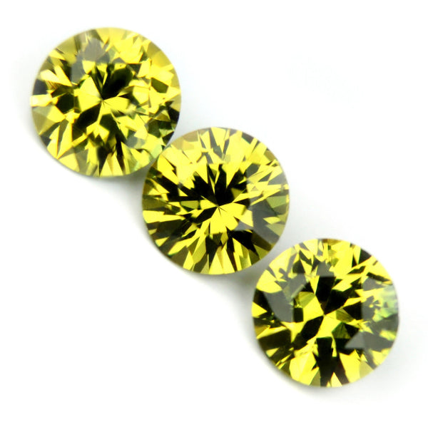 Certified 4.1mm Round Natural 3 Matching Sapphires Greenish Yellow 0.97ct Brilliant Cut vs Clarity Madagascar Gems - sapphirebazaar - 1