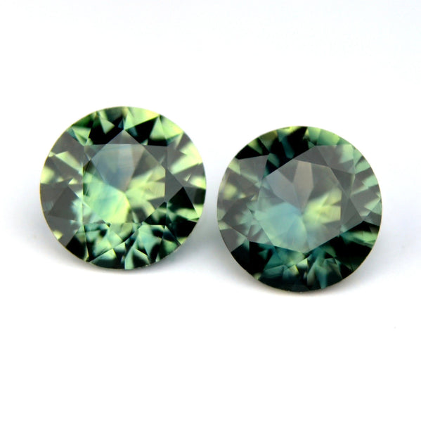 Certified 4.6mm Round Natural Multi Color Sapphire Yellow Blue Green Sapphire Matching Pair 0.84ct Brilliant Cut Madagascar Gem - sapphirebazaar - 1
