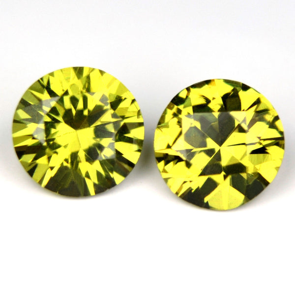 Certified 4.7mm Round Natural Sapphire Greenish Yellow Matching Pair 0.92ct vvs Clarity Madagascar Gems - sapphirebazaar - 1