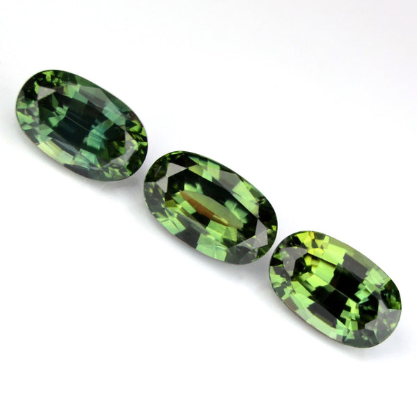 Certified Natural Green Matching Oval Sapphires 3 Matching Ovals 1.26ct Eye Clean Madagascar Gems - sapphirebazaar - 1