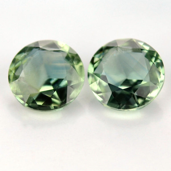 Certified Natural Green Sapphire Matching Pair 4.7mm Round Rose Cut 0.94ct Si Clarity Madagascar Gem - sapphirebazaar - 1