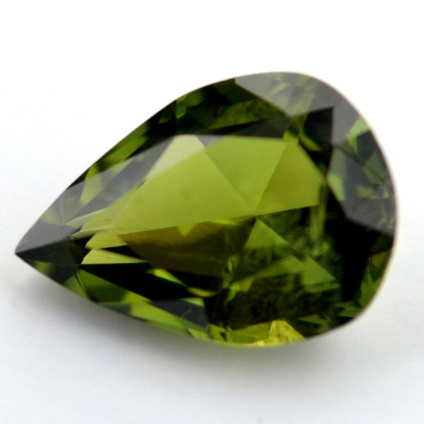 Certified Natural 0.77ct Olive Green Sapphire Vs Clarity Pear Shape Rose Cut Madagascar Gem - sapphirebazaar - 1