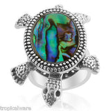 Turtle Silver & Abalone Turtle Adjustable Ring Moving Legs Beach Summer Rings