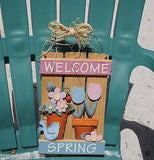 Wood Welcome Spring Sign with colorful Flowers and Lady Bug Bird & Straw Hanger