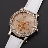 Women's Watch Diamante Butterflies Pattern Dial Red or White USA Seller