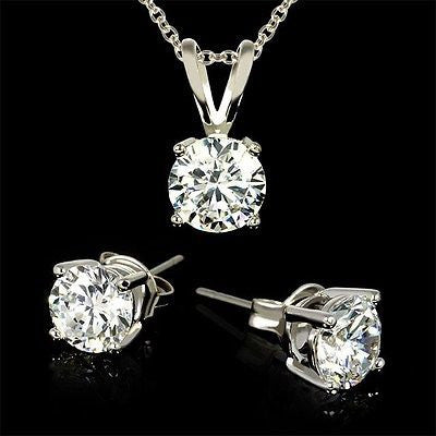 Set: 3 Carat Total Weight CZ Necklace & Earrings w/ gift box FREE SHIP