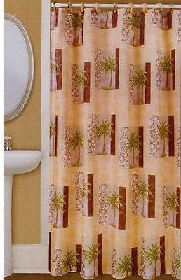 Tropical Palm Trees Brown Green Tan Printed Fabric Shower Curtain
