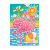 Flamingos Playing Beach Ball Flag 12 x 18 Tropical Palm Tree Ocean