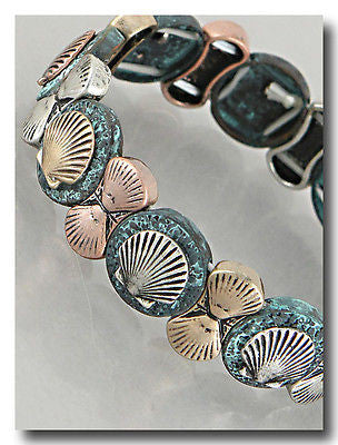 Sea Shell Rose and Blue Stretch Bracelet Beach Summer Tropical US Seller