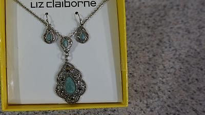 Liz Claiborne® Blue Silver-Tone Pendant Necklace and Earring Set US Seller
