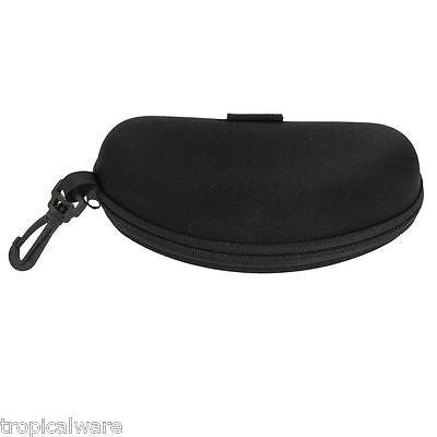 Clamshell Black Hard Eye Glass Case with Hanging Clip & Zipper