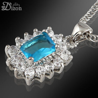 Square Cut Blue Aquamarine Pendant Necklace