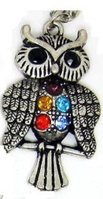 Colorful Owl Rhinestone Crystal Necklace Gift M1